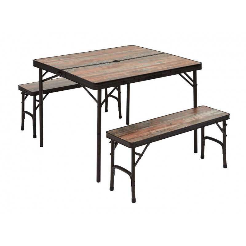 Table de camping  avec 2 bancs intégrés TRIGANO