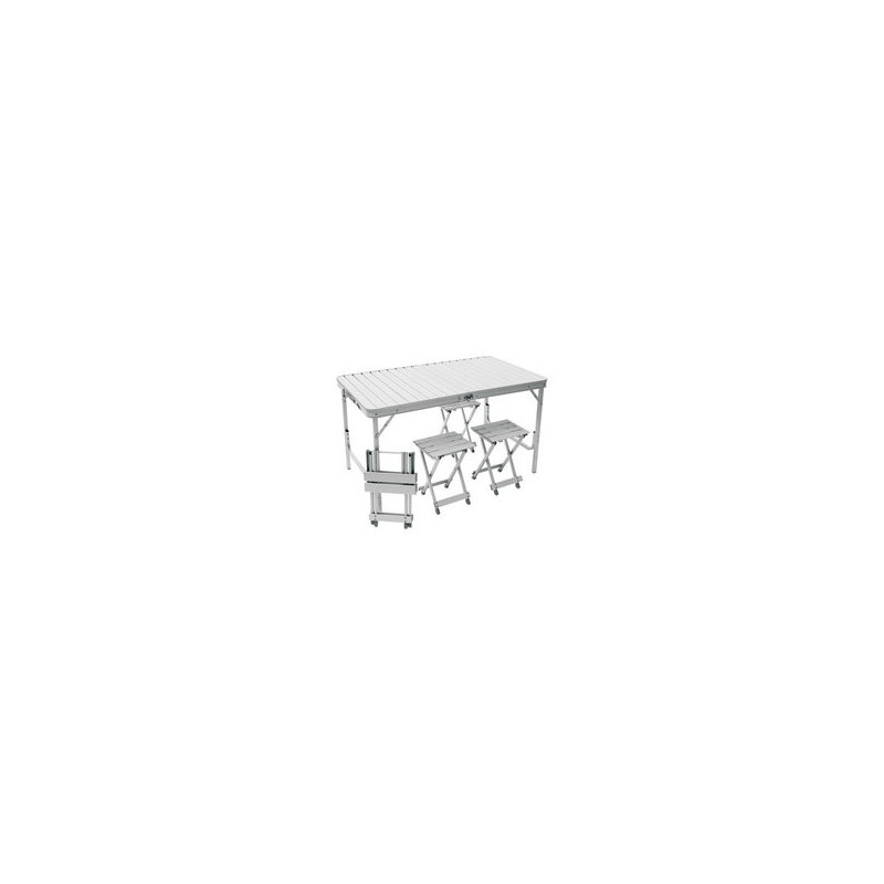 Table valise avec tabouret plan te plein air accessoires campi - Table camping valise carrefour ...
